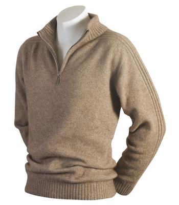 620 Short Zip Rib Sleeve Sweater